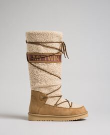Faux fur boots with tie-up laces and logo Irish Cream Hazelnut Woman 192MCT180-04