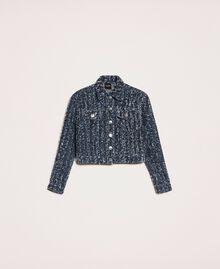 Blouson en jean avec finition bouclée Bleu Denim Femme 201MP234A-0S