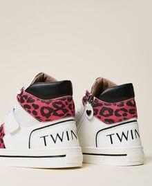 Sneakers de piel con animal print Bicolor Blanco / Estampado Maculado Carmine Rose Niño 212GCJ042-04