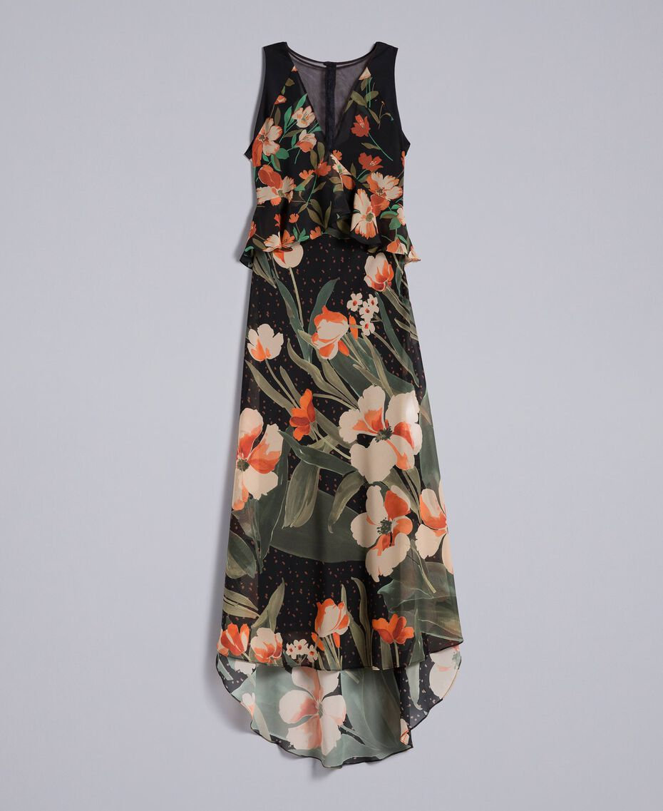 "Long chiffon dress with floral print Black Tulip and ""Tea Garden"" Print Woman TA825P-0S"