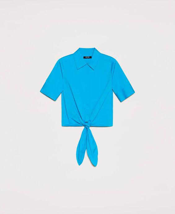 Poplin shirt with bow