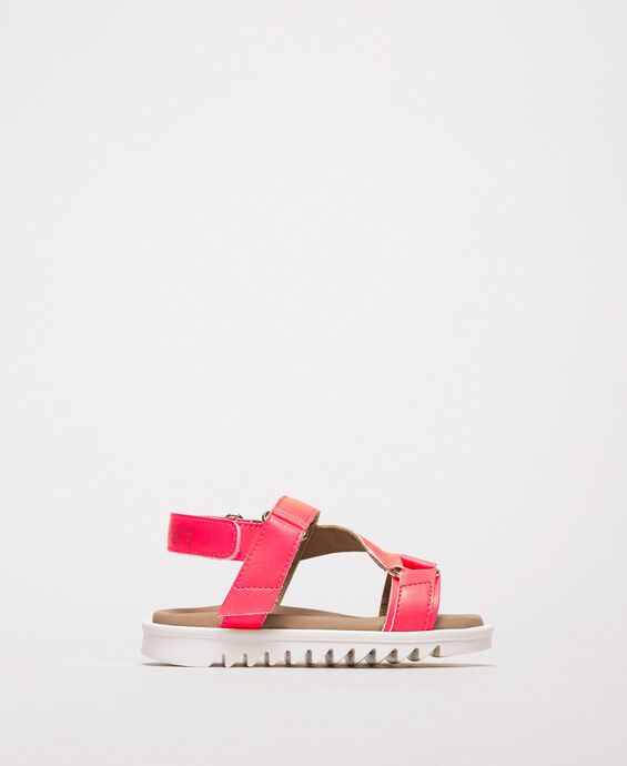 Fluorescent faux leather sandals