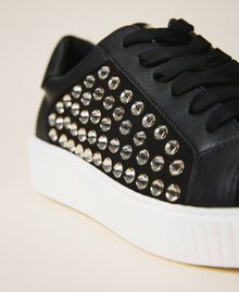 "Sneakers aus Raulederimitat mit Strass Zweifarbig Schwarz / ""Antracit"" Grau Frau 202MCP012-04"