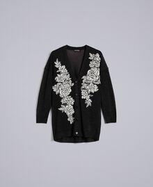Cardigan lungo in lurex con intarsio floreale Nero Lurex Donna PA836P-0S
