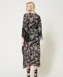Muslin floral kaftan dress Black Indian Flower Print Woman 211TT2683-04