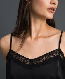 Satin and lace top Black Woman 192MP2131-04
