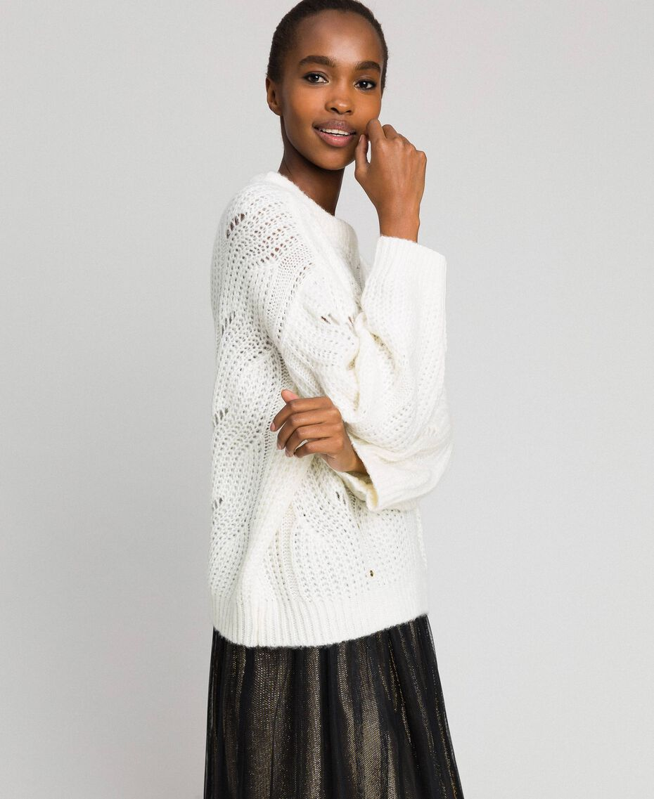 Openwork oversized jumper with studs Ivory Woman 192LL3HGG-02