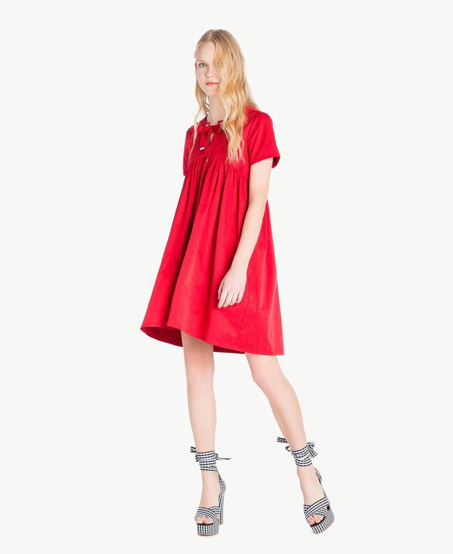 Asymmetrisches Kleid Hochrot Frau JS82QS-01
