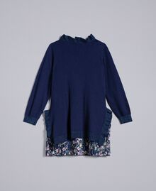 Knitted dress with ruches Bicolour Blackout Blue / Micro Flower Child FA83B1-0S