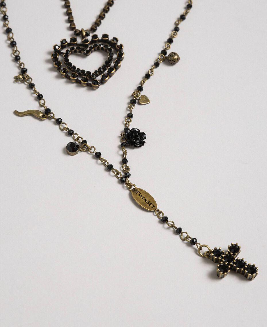 Mehrreihige Rosenkranzhalskette aus Kettchen- und Anhängermix Schwarz Frau 192TA436F-02