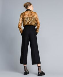 Bi-stretch wool cropped trousers Black Woman TA8271-03