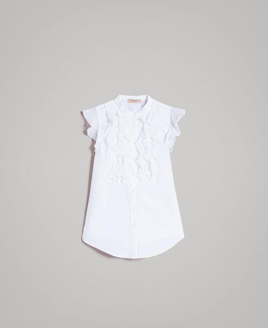 Popeline-Hemd mit Rüschen Weiß Frau 191TT2260-0S