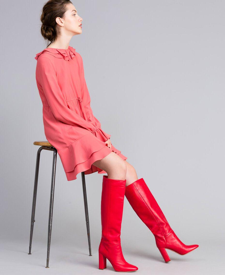 Hoher Stiefel aus Leder Rot Mohn Frau CA8PLA-0S