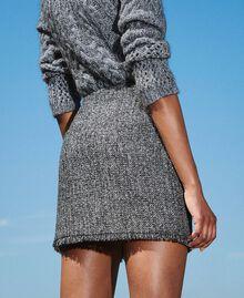 Minifalda bouclé con lentejuelas Negro Mujer 202MT218B-02