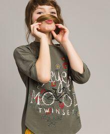 Maxi-T-Shirt mit Aufdruck und Strass Tundra-Grün Kind 191GJ2771-0S