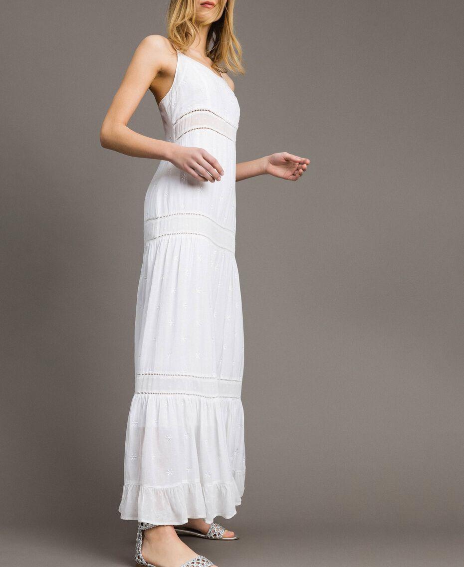 Robe longue avec broderie anglaise Blanc Femme 191LB2EAA-02