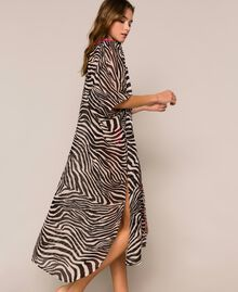 Animal print georgette kaftan Black Zebra Print Woman 201LB2GFF-04