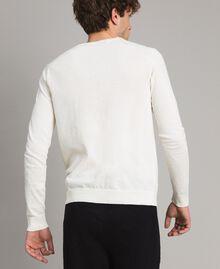 """Pull en crêpe de coton avec logo Bicolore Blanc Opaque / Rouge """"Framboise Foncé"""" Homme 191UT3040-03"""