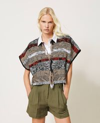 Jacquard cardigan with fringes