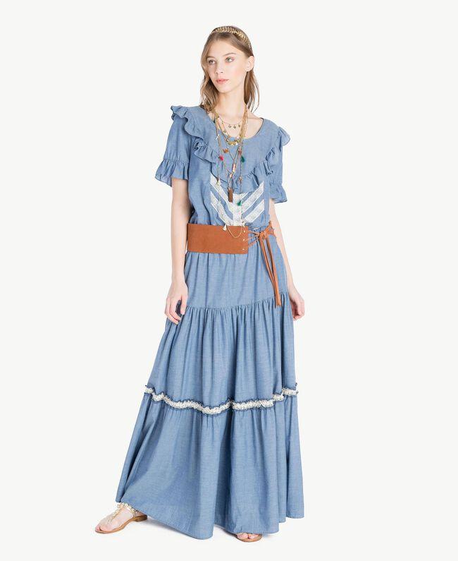 Long lace skirt Light Blue Denim Woman TS82YK-05