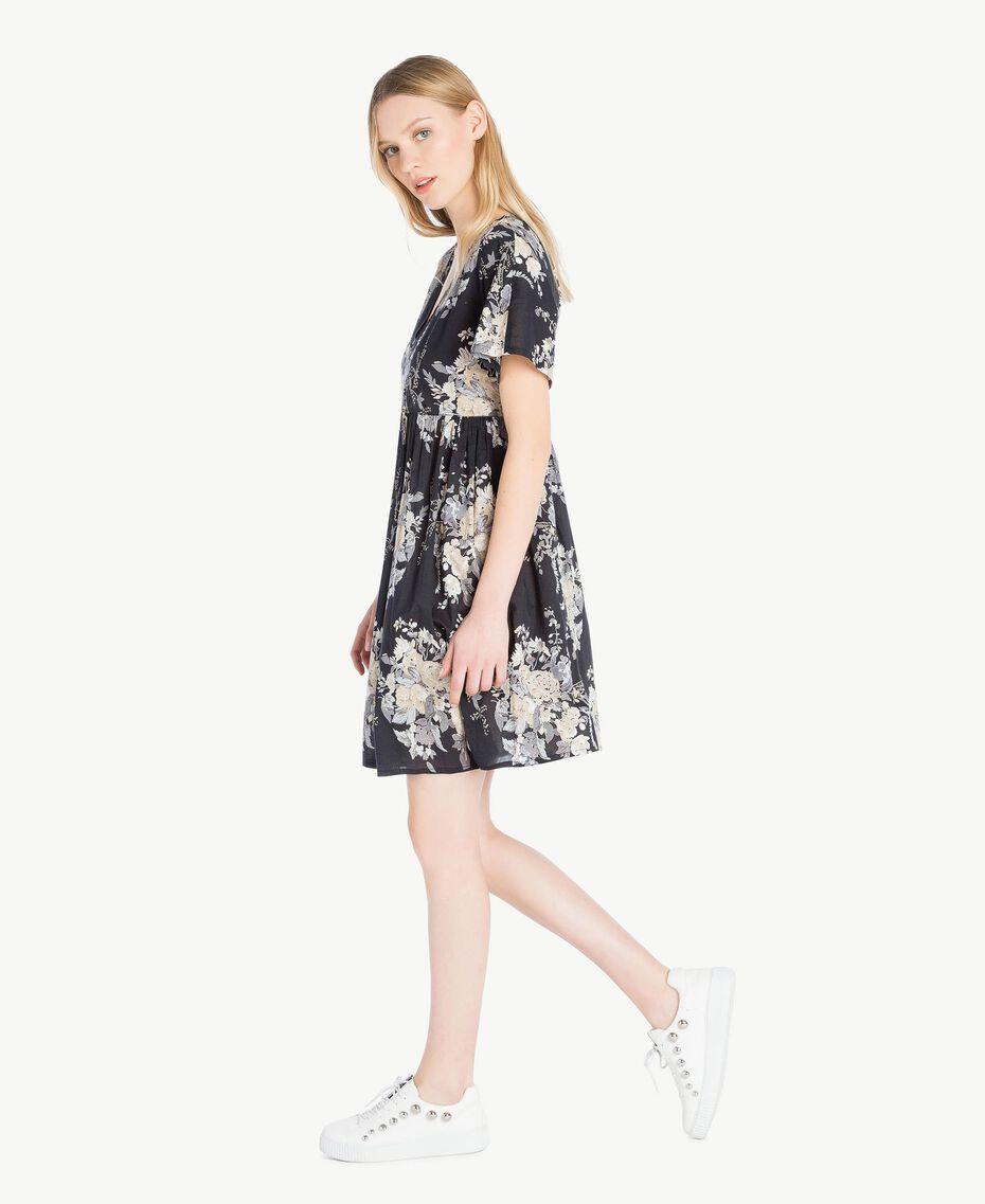 Kleid mit Print Blumenbouquetprint Schwarz Frau YS82PA-02