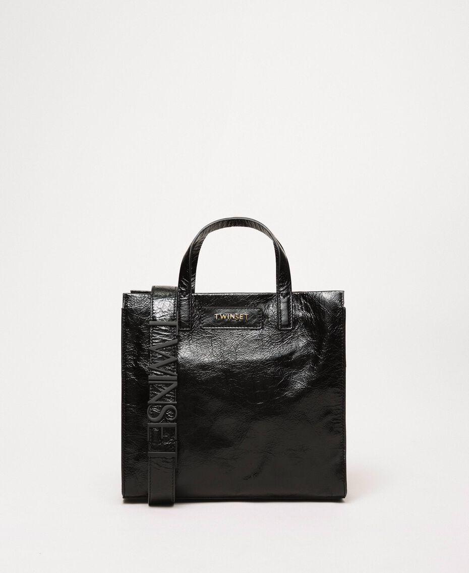"""Mittelgroßer Shopper aus Leder mit Logo """"Jazz""""-Rosa Frau 201TO8091-02"""