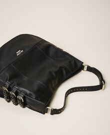 Faux leather hobo bag with straps Black Woman 202MA7041-02