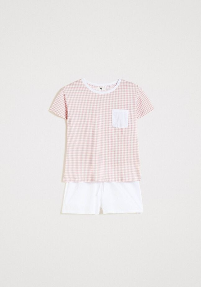 Pyjama court avec imprimé Vichy