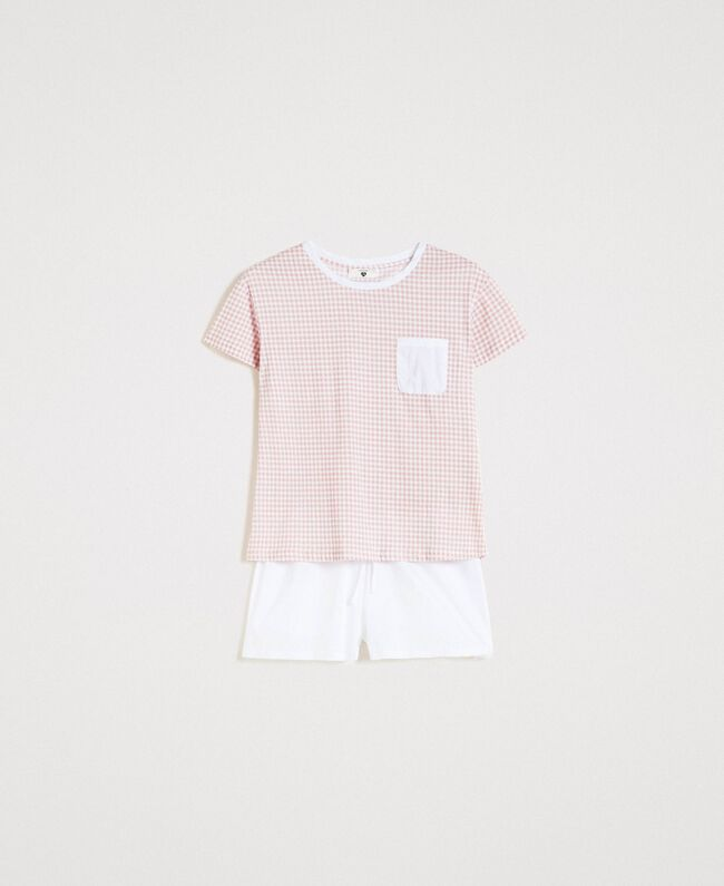 "Short gingham print pajamas ""Pink Bouquet"" Woman 191LL2ECC-01"