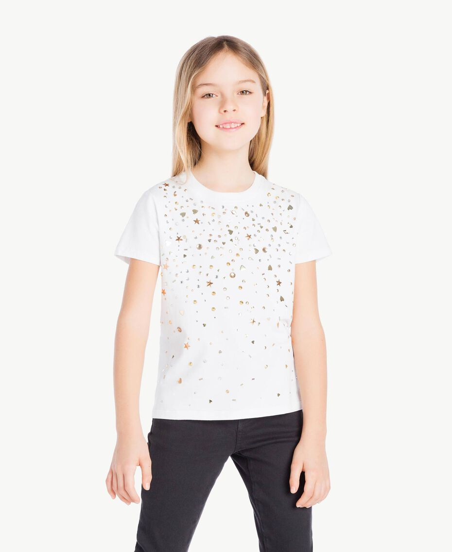 "Studded T-shirt ""Papers"" White Child GS82G3-02"
