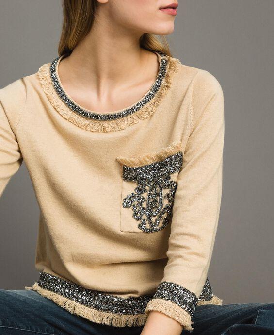 Jersey de mezcla de lino con bordados