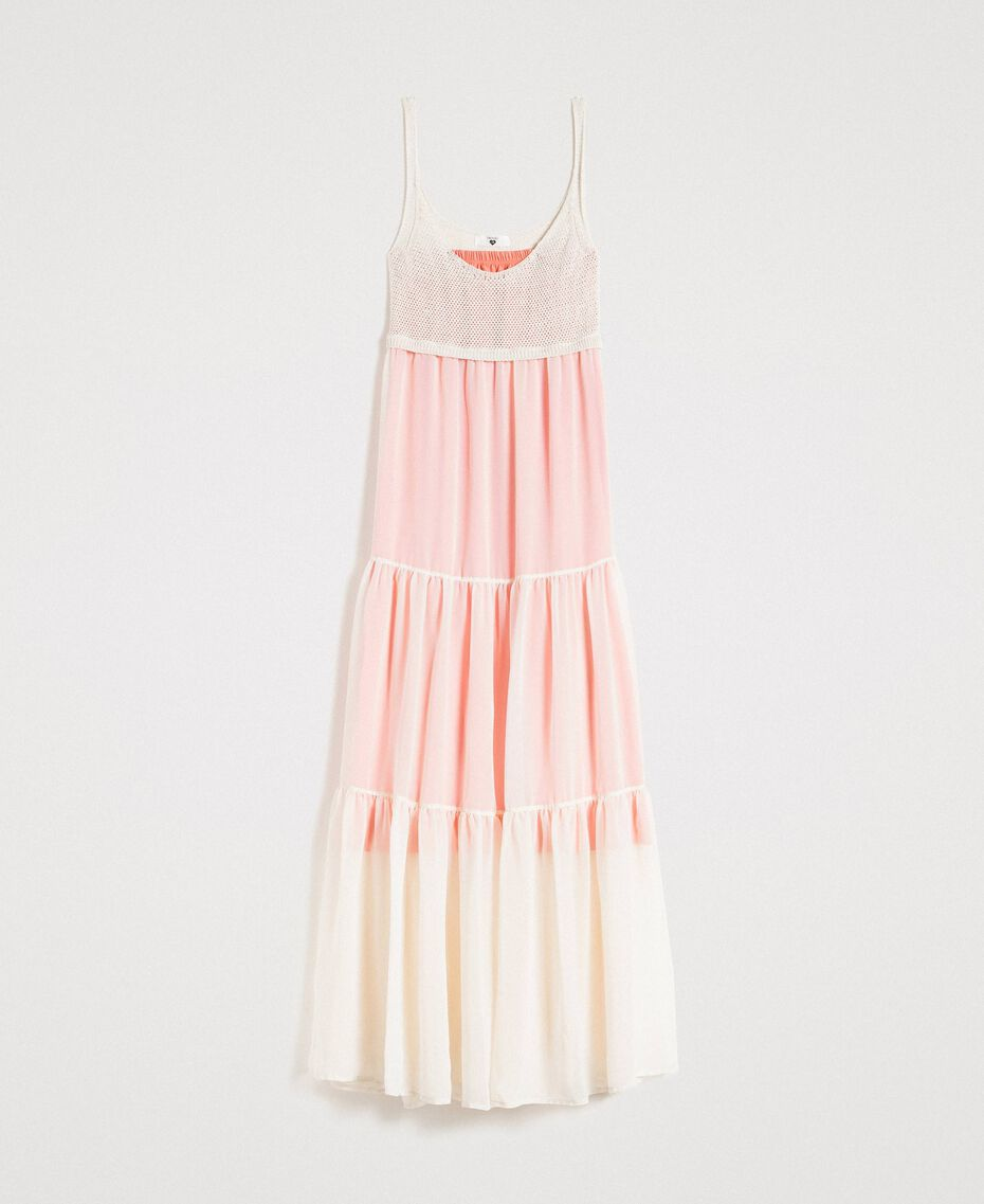 "Long chiffon and knit dress ""Milkway"" Beige Woman 191LB2KBB-0S"