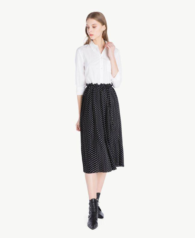 Hemdblusenkleid Zweifarbig Optisches Weiß / Schwarze Tupfen Frau PS82L1-01