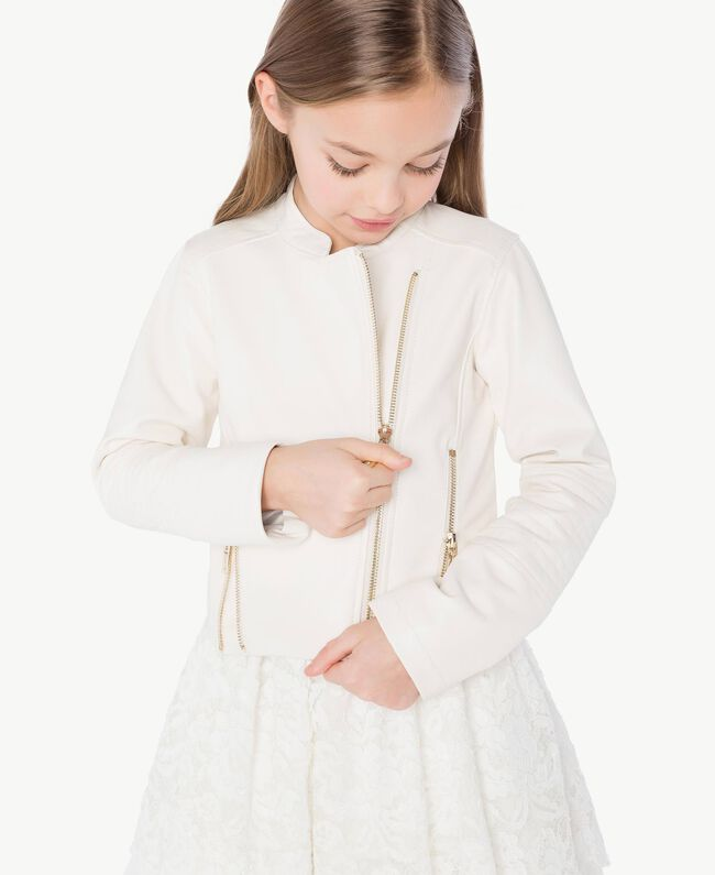 Faux leather biker jacket Pale Cream Child GS82DA-05