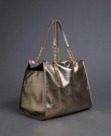 Reisetasche aus Lederimitat in Glitzeroptik Gold Gelb Frau 192LL7ZFF-01