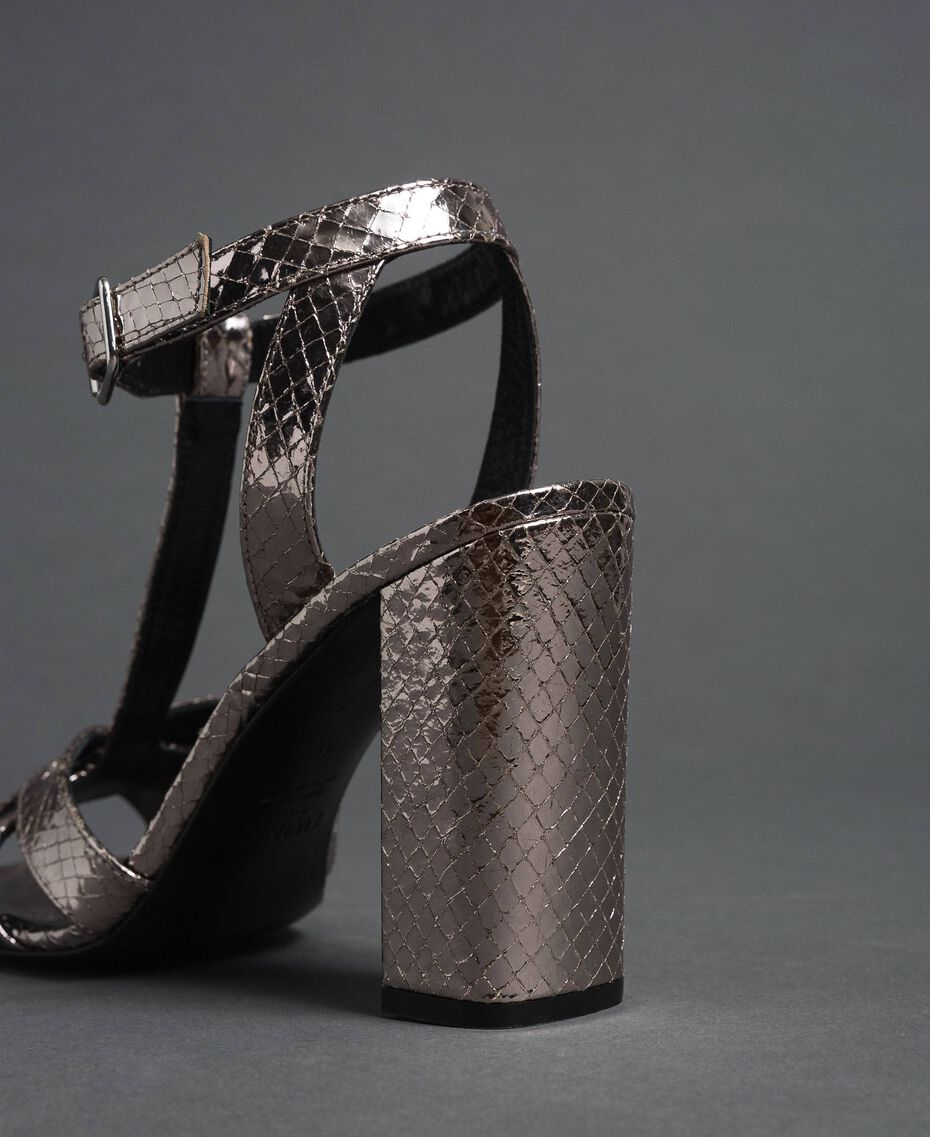 Laminated leather T-bar sandals Laminated Silver Python Woman 192TCP12J-03