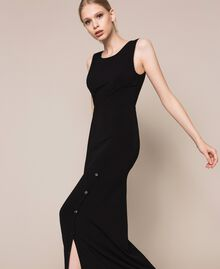 Long dress with slit Black Woman 201MT2152-03