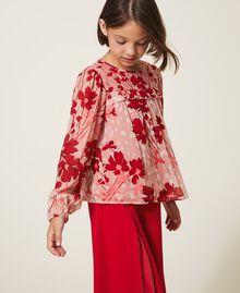 Bluse aus Georgette mit Blumendessin Blumen-Animal-Dessin Pfirsich / Kirschrot Kind 202GJ262B-01