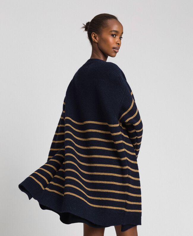 Wool blend maxi cardigan with lurex stripes Midnight Blue Striped / Dark Gold Woman 192TT3361-04