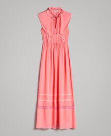 """Robe longue en georgette et dentelle Rose """"Églantine"""" Femme 191TP2370-0S"""