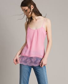 Crêpe de Chine top with lace flounces Hydrangea Pink Woman 191MP2452-01