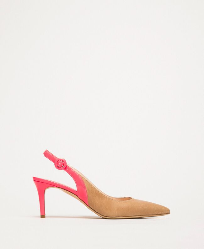 """Patent leather and leather slingback court shoes Two-tone """"Desert"""" Beige / Fluo Fuchsia Woman 201TCP010-01"""