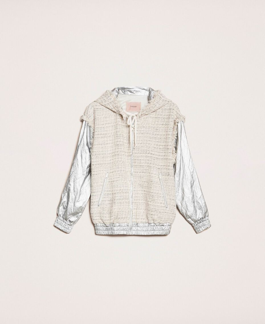 Laminated bomber jacket with bouclé fabric Multicolour Ivory / Silver Grey Woman 201TP2220-0S