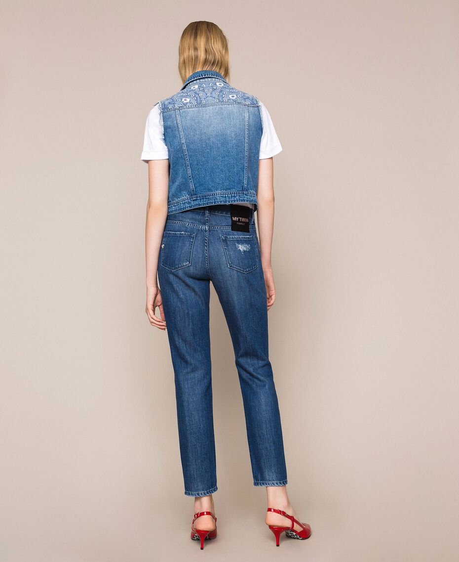 Girlfriend jeans with rips Denim Blue Woman 201MP227E-03