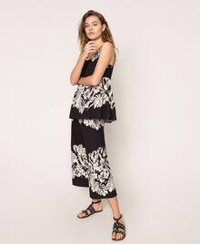 Pantalon cropped en popeline florale Imprimé Fleur Graphique Noir Femme 201TT2316-02