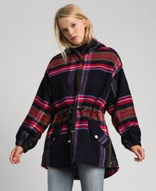 Parka en drap de laine mélangée à carreaux Carreaux Bleu Denim Femme 192MT2251-02