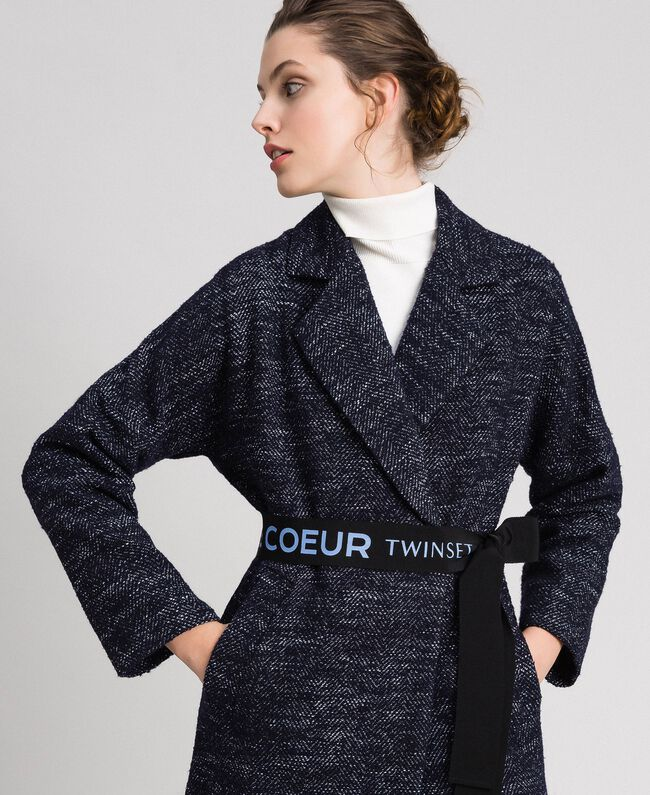 Chevron wool cloth coat with belt Black Jacquard / Night Blue Woman 192ST2100-04