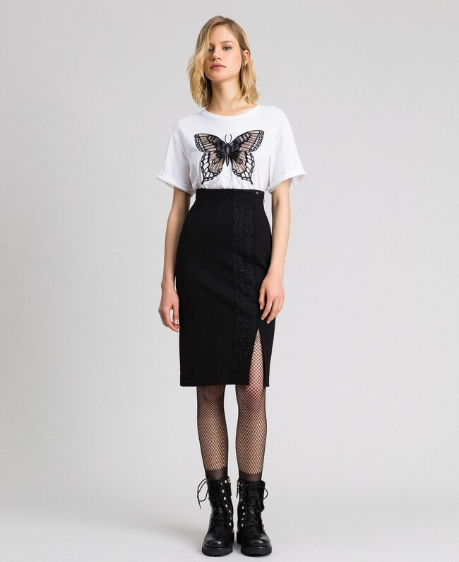 Mid-length skirt with lace Black Woman 192TP2095-01
