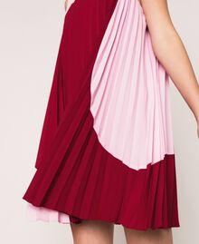 Robe en crêpe de Chine plissé Bicolore Rouge «Pourpre» / Rose «Bonbon» Femme 201ST2011-05
