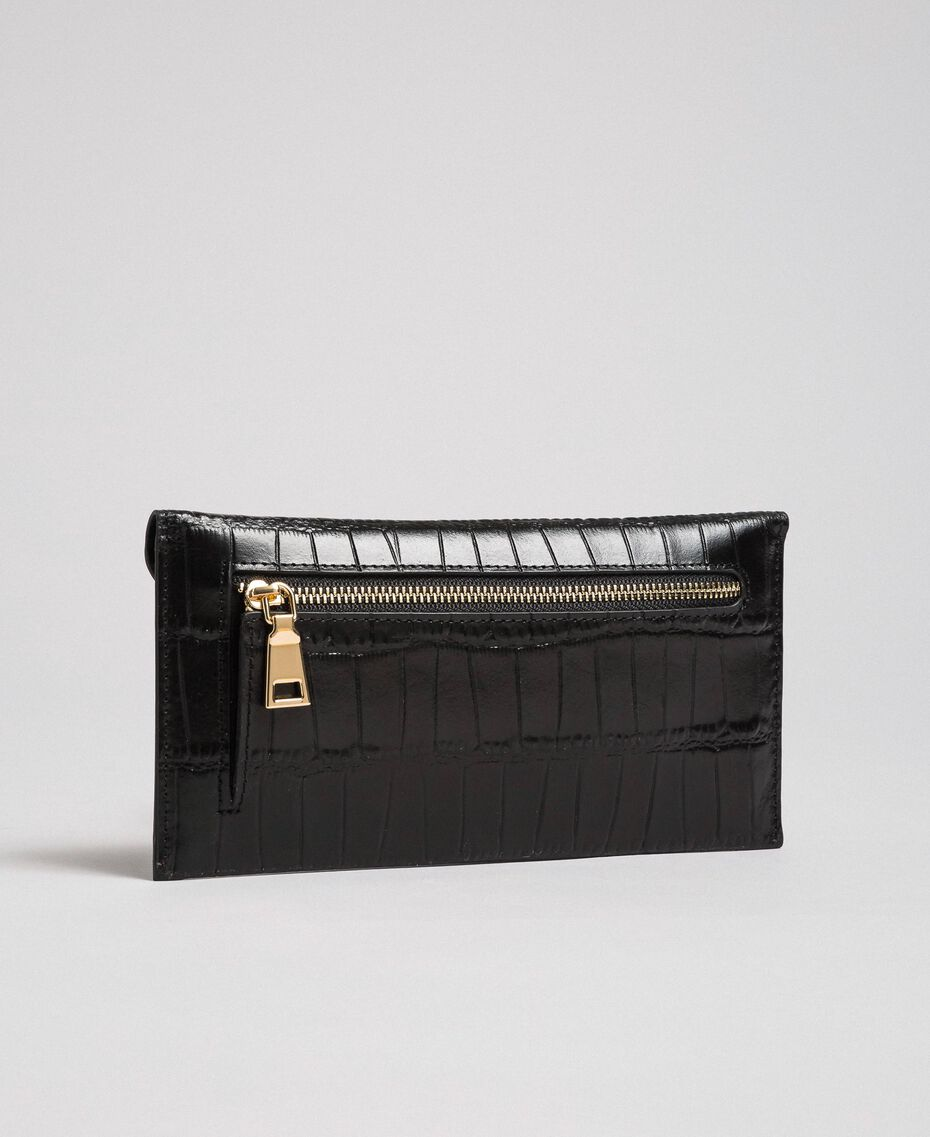 Pochette porte-documents en cuir Noir Femme 192TO8045-02